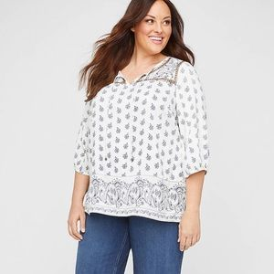 NWT CATHERINES Embellished Springs Peasant Top